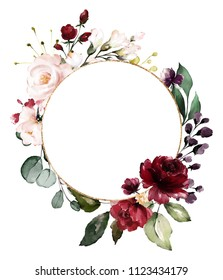 Card. Watercolor invitation design with burgundy and red roses, leaves. flower, background with floral elements , botanic watercolor illustration. Vintage Template. wreath, round frame