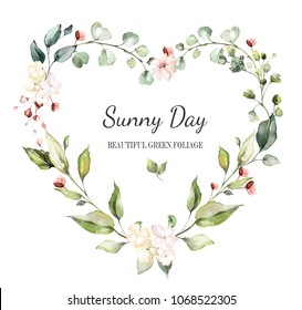 Card. Watercolor invitation design with leaves, flower. wreath with floral elements , botanic watercolor illustration. Vintage Template. heart frame