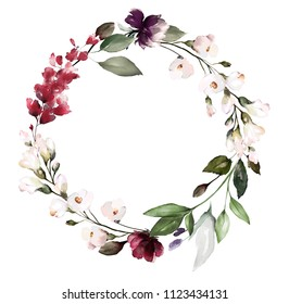 Card. Watercolor invitation design with leaves. flower, background with floral elements , botanic watercolor illustration. Vintage Template. wreath, round frame