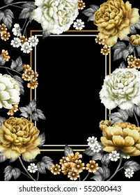 Card, Watercolor wedding invitation design with yellow peonies, bud, little flowers and leaves. Hand painted floral background for your text. Template. Frame. Black backdrop