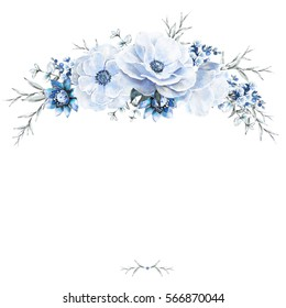 Card, Watercolor wedding invitation design with roses and leaves. flower, background with floral elements. Template.  frame