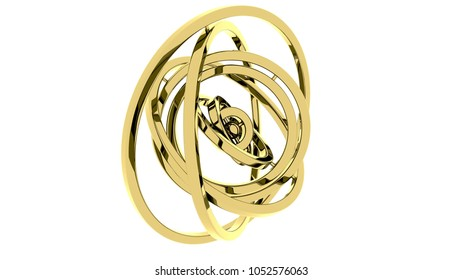 Cardan gimbal made of gold. Balance or free motion concepts. 3D rendering