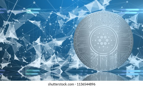 Cardano Coin (ADA) cryptocurrency 3D Render. Cardano is a decentralised public blockchain cryptocurrency with smart contracts