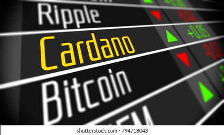 Cardano cryptocurrency market. Trading on the virtual currency exchange 3d illustration.