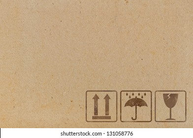 Cardboard  background with  icons used on containers and packaging