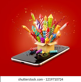 Cardboard box with fireworks rockets on smartphone. Unusual 3d illustration of christmas application. Merry Christmas and a Happy New Year concept.