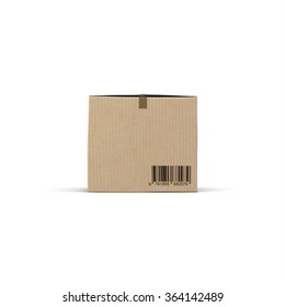 Cardboard Box front view on White Background