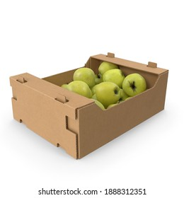 Cardboard Box With Golden Delicious Apple Spilled and full isolated in white texture background 3d rendering 3d illustration