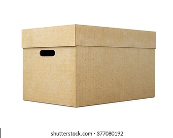 Cardboard box with lid on white background. 3d render image.