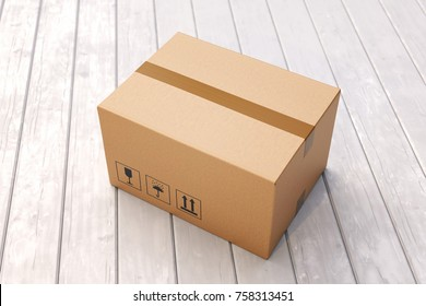 Cardboard box on porch floor in front of entrance door. Doorstep parcel delivery, free shipping, and online shopping concept. 3D illustration