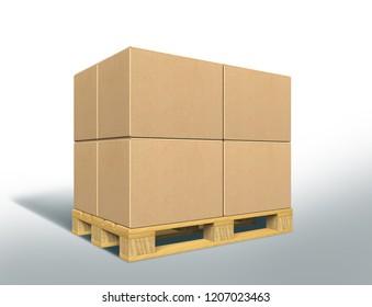 Cardboard Box Pack. 3D rendering