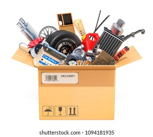Cardboard box, parcel with car parts. 3D rendering isolated on white background