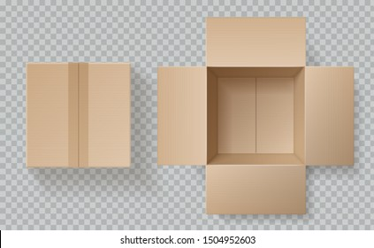 Cardboard box top view. Open closed boxes inside and top, brown pack mockup, delivery service realistic empty carton packaging template