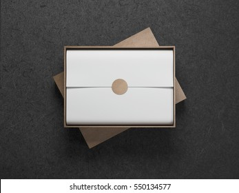Cardboard Box with White wrapping paper and opened cover, Horizontal, 3d rendering