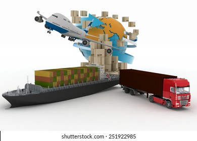 Cardboard boxes around globe, cargo ship, truck and plane. Concept of online goods orders worldwide