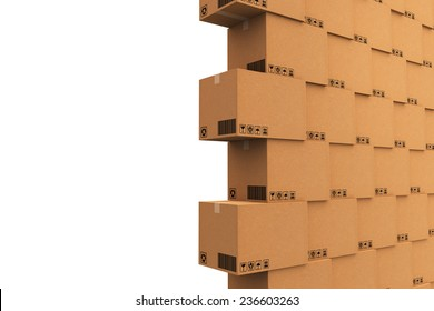 Cardboard boxes. Cargo, delivery and transportation logistics storage.