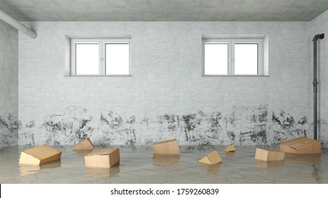 Cardboard boxes float in the water after water damage in the basement due to flooding or flooding (3D Rendering)