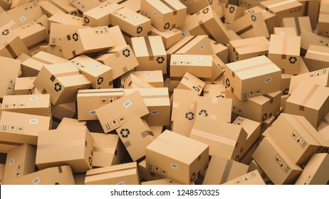 Cardboard boxes, logistics and delivery concept. 3D Rendering