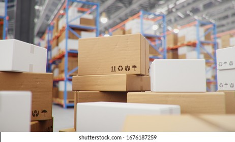 Cardboard boxes in middle of the warehouse, logistic center. Huge modern warehouse. Warehouse filled with cardboard boxes on shelves, boxes stand on pallets. Transportation system, 3D Illustration