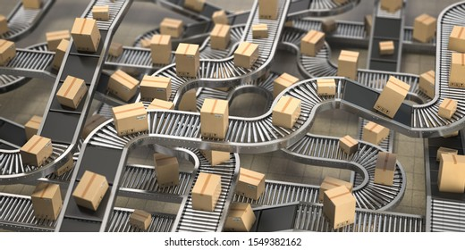 Cardboard boxes on conveyor belts and rollers in distribution warehouse, Delivery and packaging service concept background. 3d illustration
