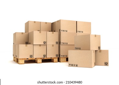 Cardboard boxes on pallet. Cargo, delivery and transportation logistics storage.