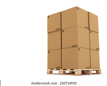 cardboard boxes on wooden palette 3d illustration, isolated on white background