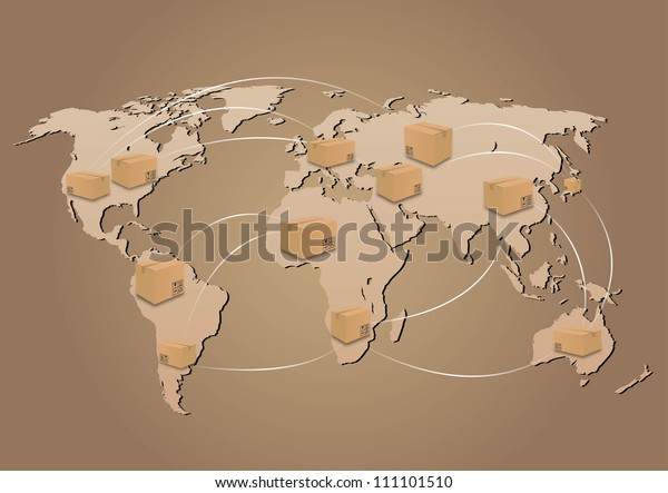 cardboard boxes on world map background. global shipment