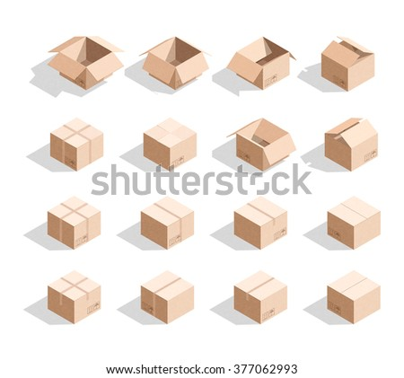 Cardboard Boxes Texture Templates Box Design Stock Illustration