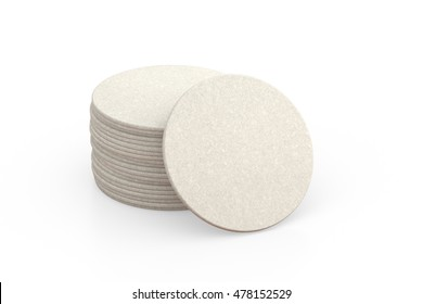 Cardboard coasters. Isolated on  white background. 3d render