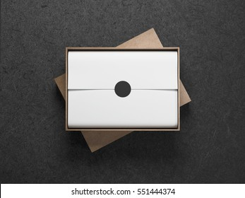 Cardboard opened Box with white wrapping paper, Horizontal, 3d rendering