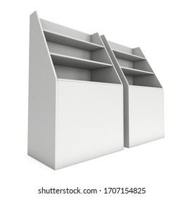 Cardboard retail shelves rack. Blank Trade Show Booth. 3d render isolated on white background. Ad template for your expo design.