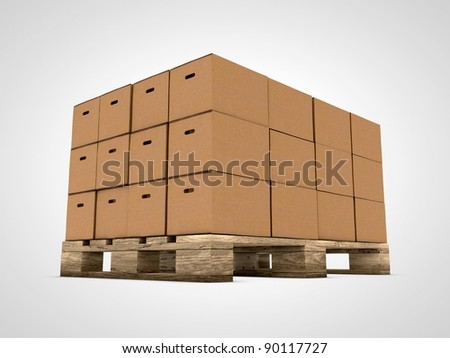 cardboard stacked boxes on wooden palletのイラスト素材 90117727