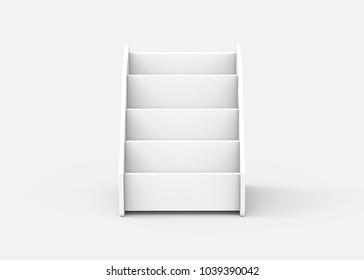 Cardboard tabletop rack, 3d render white stand for brochure or sheets