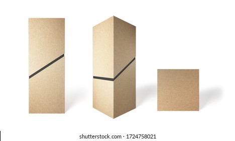 Cardboard tall box with a diagonal slot in different angles. 3D