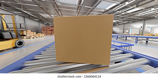 Cardbox mock up view in a warehouse - 3d rendering