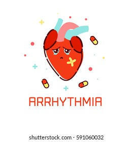 Cardiac arrhythmia disease awareness poster with sad cartoon heart on white background. Human body organs anatomy icon. Medical concept.