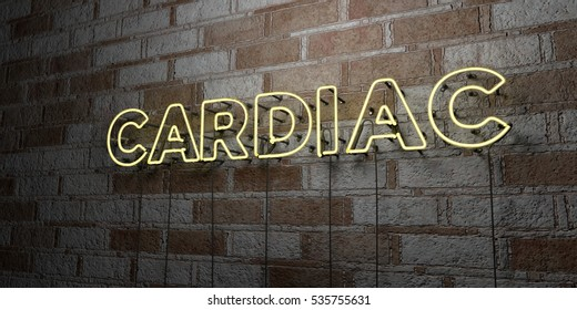 CARDIAC - Glowing Neon Sign on stonework wall - 3D rendered royalty free stock illustration.  Can be used for online banner ads and direct mailers.