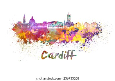 Cardiff skyline in watercolor splatters with clipping path
