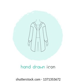 Cardigan icon line element.  illustration of cardigan icon line isolated on clean background for your web mobile app logo design.