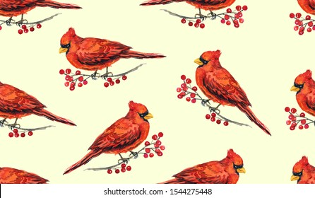 Cardinal birds on branches with red berries, hand painted watercolor illustration, seamless pattern design on soft yellow background