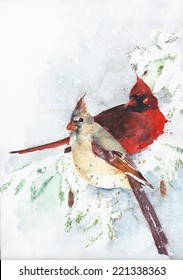 Cardinals watercolor painting isolated on white greeting card