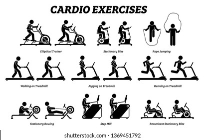 Cardio exercises and fitness training. Artworks depict cardio exercise machine, elliptical trainer, stationary bike, rope jumping, treadmill, step mill, stationary rowing, and recumbent bike.