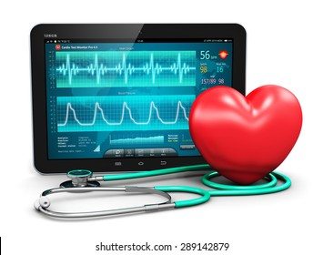 Cardiology healthcare medicine and heart health disease medical tool technology concept: tablet computer with cardiological diagnostic test software, stethoscope and red heart shape isolated on white