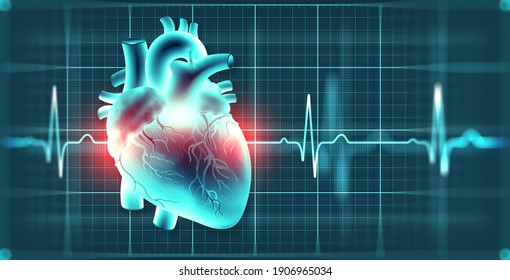 Cardiology. Healthy heart concept. Heartbeat, Pulse Monitor and 3d illustration of heart