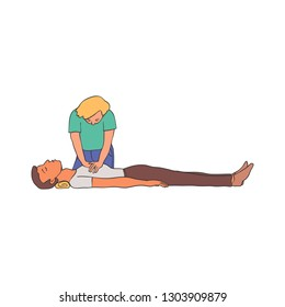 Cardiopulmonary resuscitation illustration - young woman doing chest compressions to man lying on floor. Isolated hand drawn emergency procedure of cardiac massage for first aid concept.