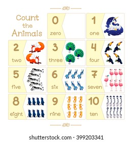 """Cards Count the Animals. Learn to count with cartoon illustration of numbers from zero to ten 0,1,2,3,4,5,6,7,8,9,10. Addition to series of English ABC """"Amusing Animals"""" Baby shower"""