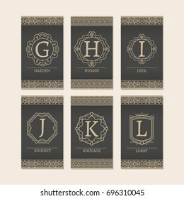 Cards set with monogram logos and borders. Letters G-L illustration