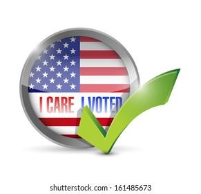I care I voted seal button illustration design over a white background
