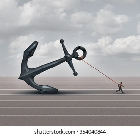Career burden and business stress concept as a businessman or worker pulling a giant heavy metal anchor as a metaphor for hardship and struggle with taxes or oppression.