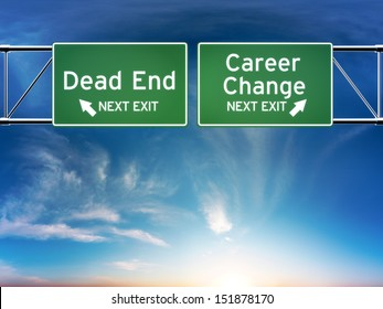 Career change or dead end job concept. Road signs showing your choice in career path.
